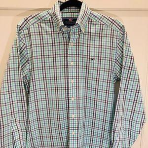 Vineyard Vines plaid Whale shirt, like new, XS